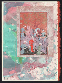 image of Hunting Party detail on a one-of-a-kind hand marbled paper composition presented on a blank note card.