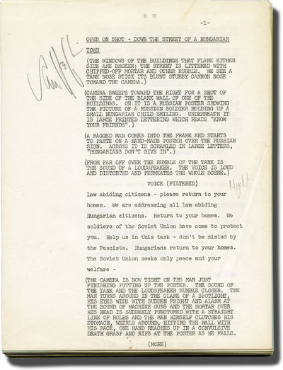 Los Angeles: Columbia Broadcasting System , 1957. Draft script for the 1959 television episode. Acto...