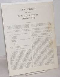 image of Statement of the New York State Committee. The New York State Committee, Communist Party, at its meeting held December 8, 1956, adopted the attached statement of its position on certain questions of section four of the draft resolution as a basis for discussion. Certain amendments to the draft resolution follow the statement