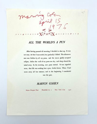 New York: Moon Dragon Press, 1975. Near-fine with a few soft creases at corners. 11 x 8.5 inches. Pr...