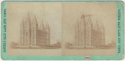 Salt Lake City: Carter's View Emporium, 1870. Stereoview. Albumen photograph on a green 'Stereoscopi...