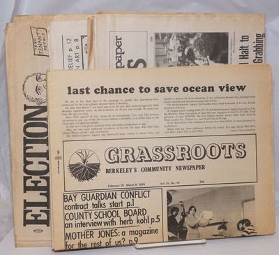 Berkeley: Grassroots, 1988. Newspaper. Nine issues of the tabloid newspaper, all with horizontal fol...