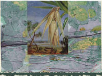 image of Screw Pine detail on a one-of-a-kind hand marbled paper composition presented on a blank note card.