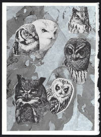image of Composition of Owl Heads detail on a one-of-a-kind hand marbled paper composition presented on a blank note card.