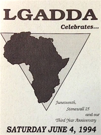San Francisco: LGADDA, 1994. Four-panel invitational card with outline map of Africa in inverted tri...