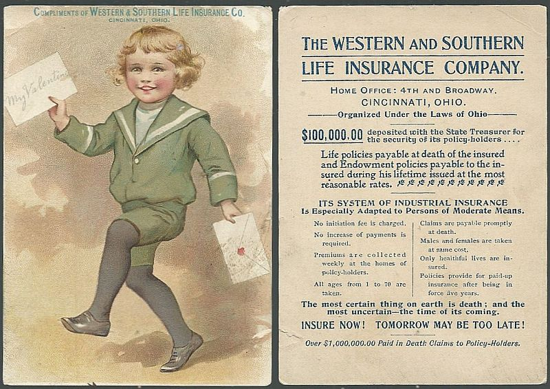 VICTORIAN TRADE CARD FOR WESTERN AND SOUTHERN LIFE INSURANCE CO., WITH DANCING BOY BRINGING VALENTINE, Advertisement
