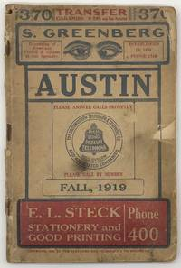 The Southwestern Telegraph and Telephone Company. Fall, 1919. Telephone Directory of Austin, Texas