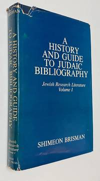 image of History and Guide to Judaic Bibliography. Jewish Research Literature Vol. 1
