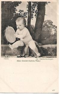 """""""Tambourine Player"""" by Tizian - ca. 1920s Postcard by Tizian - 1903 - from Paper Time Machines (SKU: 4611)"""