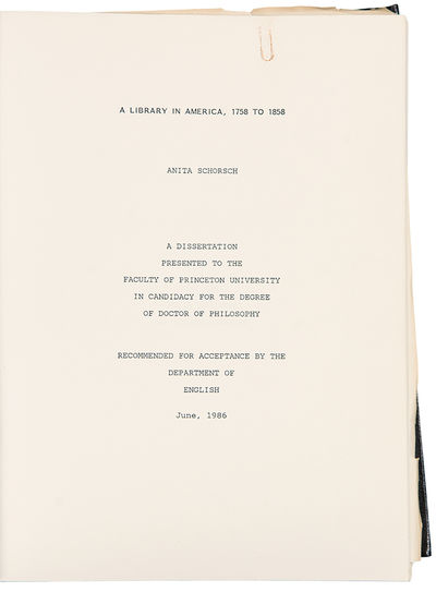 Princeton, NJ, 1986. Quarto. (11 x 8 1/2 inches). 2 copies of the dissertation report signed by Will...