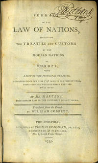 image of Summary of the Law of Nations, Founded on the Treaties and Customs of the Modern Nations of Europe..