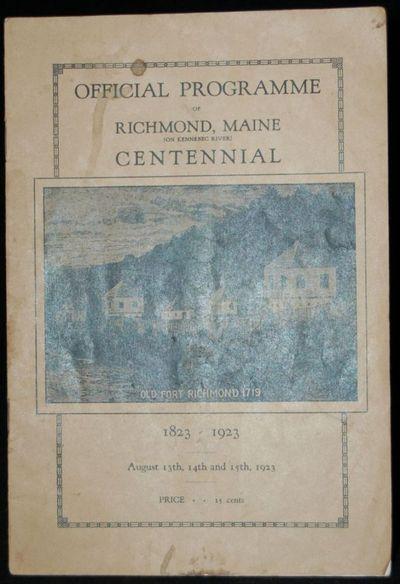 Richmond, Maine: Richmond Bee Print Shop, 1923. Stapled Pamphlet. near Very Good binding. Binding so...