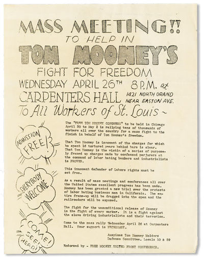 St. Louis: Free Mooney United Front Conference, n.d. but 1932. First Edition. Broadside (27.5cm.); i...