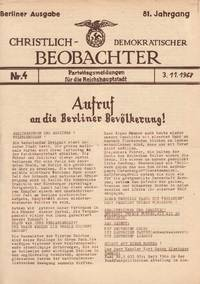 Christlich-Demokratischer Beobachter. Berliner Ausgabe. Parteitagsmeldungen für die Reichshauptstadt. Nr. 3. 1. 11. 1968 [Christian-Democrat Observer. Party Congress News for the Capital of the Reich, nos. 3-5, November 1-4, 1968]
