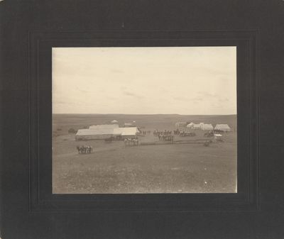 Very Good. A 19th century photographic print of an unknown semi-permanent camp on the plains, likely...