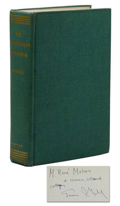 New York: Harper & Brothers, Publishers, 1946. Near Fine. Signed by Gunnar Myrdal on front free endp...