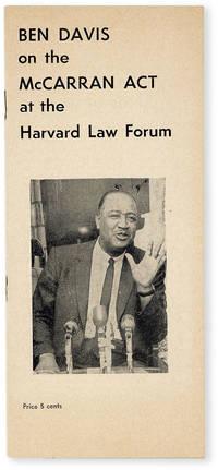 image of Ben Davis on the McCarran Act at the Harvard Law Forum