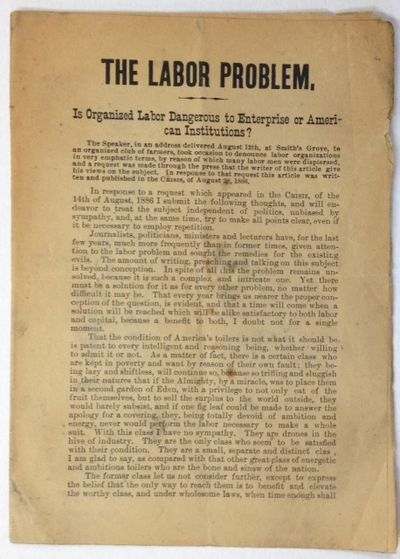 n.p.: , 1886. 8p., edgeworn pamphlet, paper toned. Top edges uncut; last page has an edge tear (not ...
