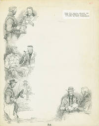 4 vignette pen and ink drawings on one folio sheet done for Sports Afield '49. The Sportsman's Friend an Article by Ralf Coykendall