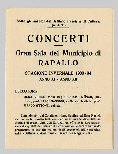 [Rapallo: Printed at the Office of IL MARE, 1934. Quarto broadside. (28.3 x 22.3 cm). Text on recto ...