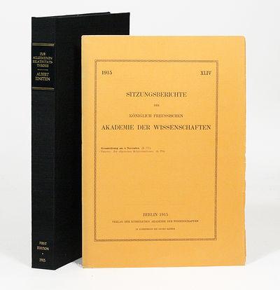 Berlin: Verlag der Königlichen Akademie der Wissenschaften, 1915. First edition. Original wrappers....