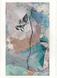 image of Whip Scorpion detail on a one-of-a-kind hand marbled paper composition presented on a blank note card.