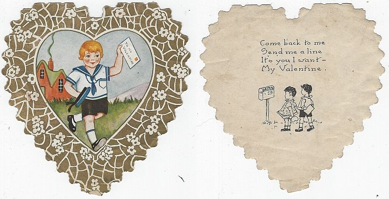 VINTAGE HEART SHAPED VALENTINE BOY WITH LETTER, Valentine