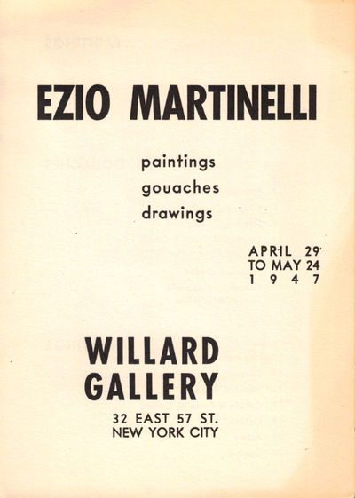 NY: Willard Gallery, 1947. Paperback. Very good. Single leaf folded to make pp. Tanned overall, else...