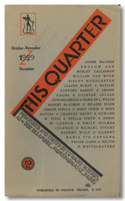 Paris: Edward Titus, 1929. II:2. Printed wrappers. Illustrations. Usual nicks and light wear at over...