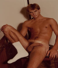 "MALE NUDE: ""ATHLETE WITH WHITE SOCK"" COLOR PHOTOGRAPH BY KURT DEITRICK"