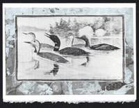 Five Loons detail on a one-of-a-kind hand marbled paper composition presented on a blank note card.