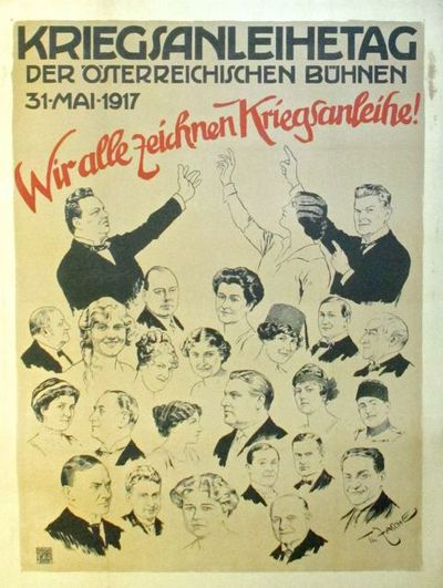 Vienna: Ku.K. Hof Lieferant I. Weiner, 1917. Poster. Lithograph printed 1917 mounted on linen. To pr...