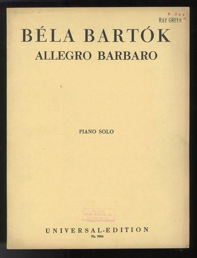 Wien-Leipzig: Universal Edition A.G. , 1939. Quarto. Original publisher's light yellow wrappers prin...