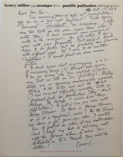 Pacific Palisades, 1969. unbound. 2 pages (front and back), 11 x 8.5 inches, Pacific Palisades, Octo...