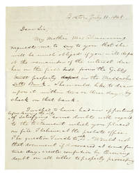 """Autograph Letter, signed (""""Wm F Channing"""") to Wm. D. Lotrier, conveying a financial request from his mother, and expressing doubts about """"the testament which you placed on filed  ...  at the probate office."""""""