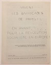 Vivent les barricades de Paris! En avant pour le révolution socialiste en Europe! Appel du Secrétariat unifié de la IVe Internationale aux travailleurs de France, d'Europe et du monde. 20 mai 1968