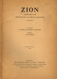 ZION A QUARTERLY FOR RESEARCH IN JEWISH HISTORY