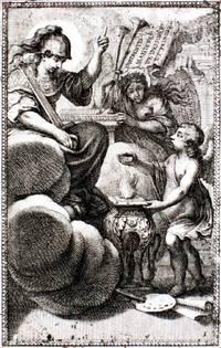 Diverses figures a l'eau forte de petits amours, anges vollants, et enfans, propre a mettre sur frontons portes et autres lieux. Ensemble pus.rs sortes de masques de l'invention de Paul Farinaste Italien.