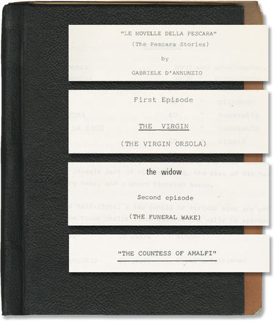 Rome: Aquila Cinematografica, 1974. Two Draft scripts and one treatment script for an unproduced tel...