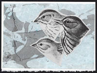 Three Sparrow Heads detail on a one-of-a-kind hand marbled paper composition presented on a blank note card.