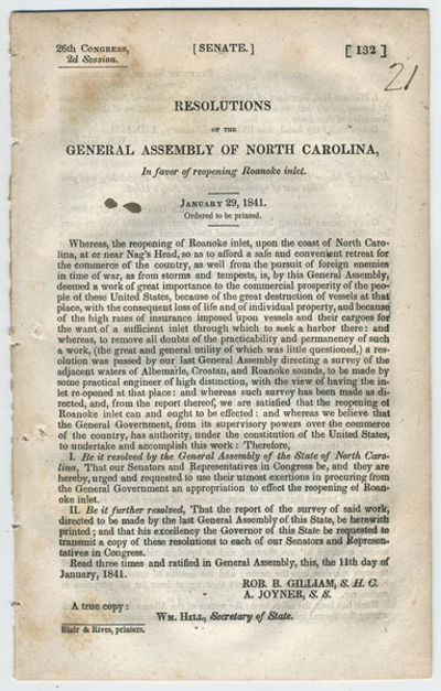: Blair & Rives, printers, . 8vo. 13 pp. The resolutions accompany the report of Major Walter Gwynn,...