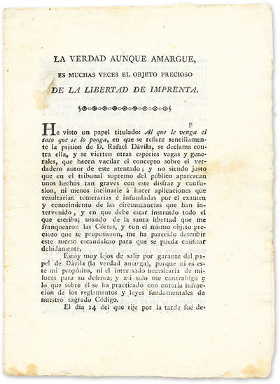 1820. Rare Anonymous 1820 Mexican Pamphlet Advocating Freedom of the Press . . La Verdad Aunque Amar...