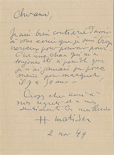 Henri Matisse's Handwritten Response...