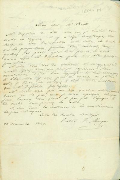 1849. Very Good. Moigno, François Napoléon Marie (1804-84). A.L.s. to Brett (1805-63), addressed t...