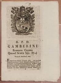 GAMBERINI ROMANA CENSUS QUOAD SCUTA 541.87 VENERIS 6 DECEMBRIS 1822