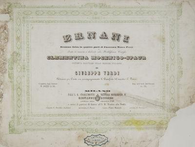 Milano: Giovanni Ricordi , 1844. Oblong folio. Full modern marbled paper boards, printed title label...