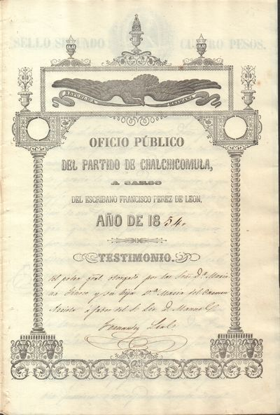 1854 Notary Public Document with...