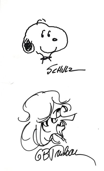 Each cartoonist has drawn his lovable character on a 6.75 x 11 tall inch card. The Snoopy and Zonker...