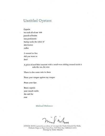 Portland: Charles Seluzicki, 2010. 1st edition, limited (1/100) signed, illustrated broadside. The p...