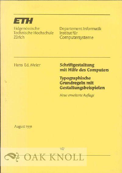 Zürich, Switzerland: Eidgenössische Technische hochschule, 1991. stiff paper wrappers. 8vo. stiff ...